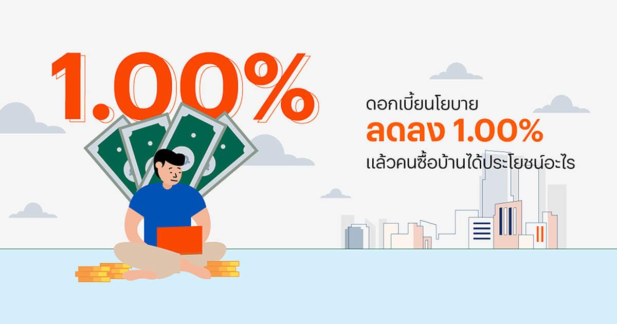 ดอกเบี้ยนโยบายลดลง 1.00% แล้วคนซื้อบ้านได้ประโยชน์อะไร
